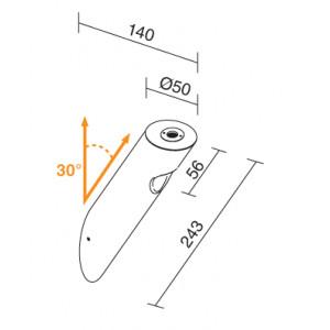 Traddel - Applique a biemissione da esterno - Ciclop - Lampada parete design biemissione