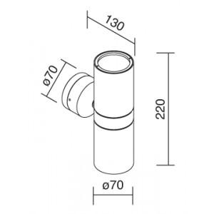 Traddel - Applique a biemissione da esterno - Vision 2 - Applique parete S