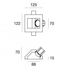 Traddel - Faretti a incasso per interni - Gypsum - Lampada incasso ottica asimmetrica