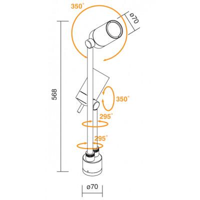 Traddel - Paletti luminosi da giardino - Vision 2 - Faretto orientabile 2 luci