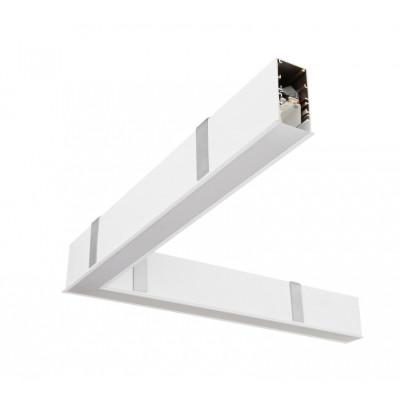 Traddel - Profilo incasso totale - Mini Outline LED - Curva 90° soffitto/soffitto sx - Bianco goffrato RAL 9003  -  - Bianco caldo - 3000 K - Diffusa