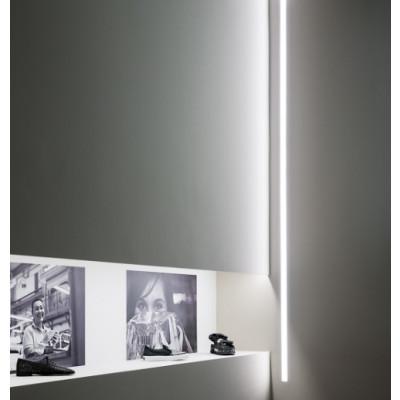 Traddel - Profilo incasso totale - Mini Outline LED - Profilo lunghezza 1005mm - Bianco goffrato RAL 9003  -  - Bianco caldo - 3000 K - Diffusa