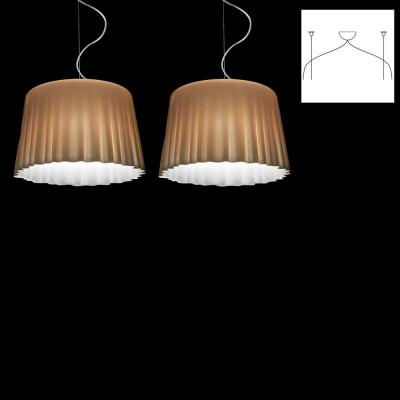Vistosi - Cloth - Cloth SP L D2 - Lampada a sospensione 2 luci - Bianco/Natural/Cromo - LS-VI-SPCLOTHGD2CMCR