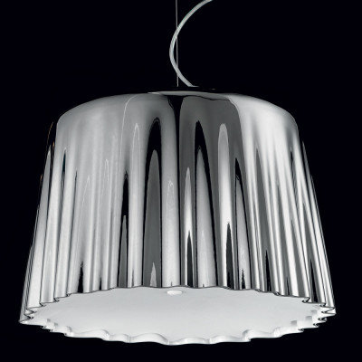 Vistosi - Cloth - Cloth SPG - Lampada a sospensione L - Bianco/Natural/Cromo - LS-VI-SPCLOTHGCMCR